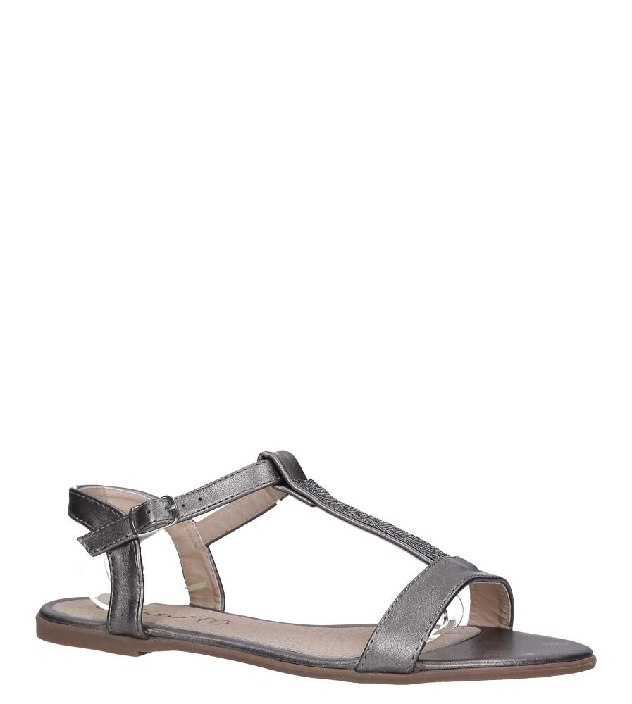 Stalowe sandały płaskie ze skórzaną wkładką brokatowy pasek Casu S19X2/PE stalowy