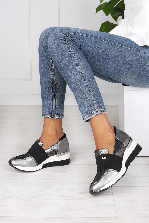 Stalowe sneakersy Kati półbuty na koturnie z gumką polska skóra 7020 stalowy