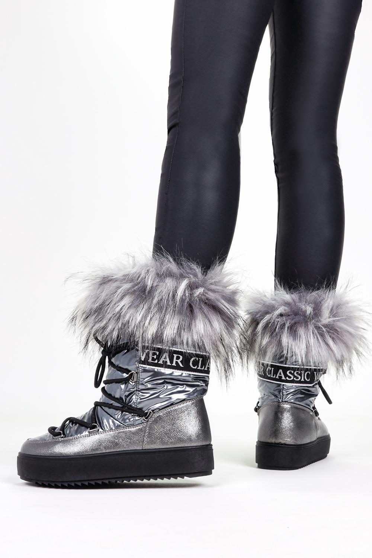 Stalowe śniegowce mukluki z futerkiem emu Casu CNT-31 stalowy