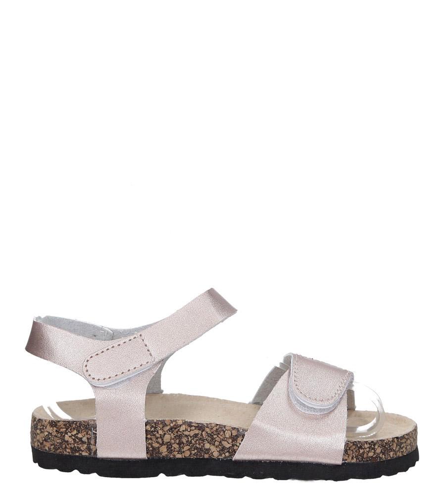 Szampańskie sandały na rzepy ze skórzaną wkładką i profilowaną korkową podeszwą Casu B19KDX1/CH