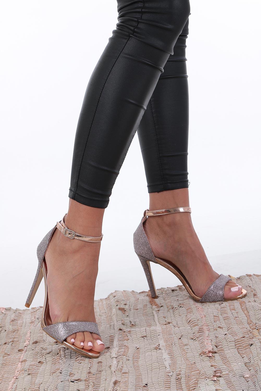 Szampańskie sandały szpilki karnawałowe brokatowe z paskiem wokół kostki Casu