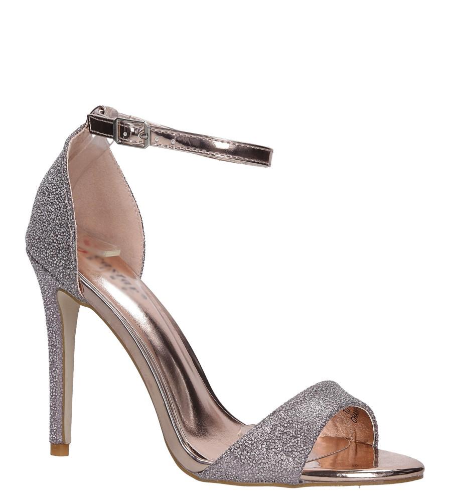 Szampańskie sandały szpilki karnawałowe brokatowe z paskiem wokół kostki Casu szampański