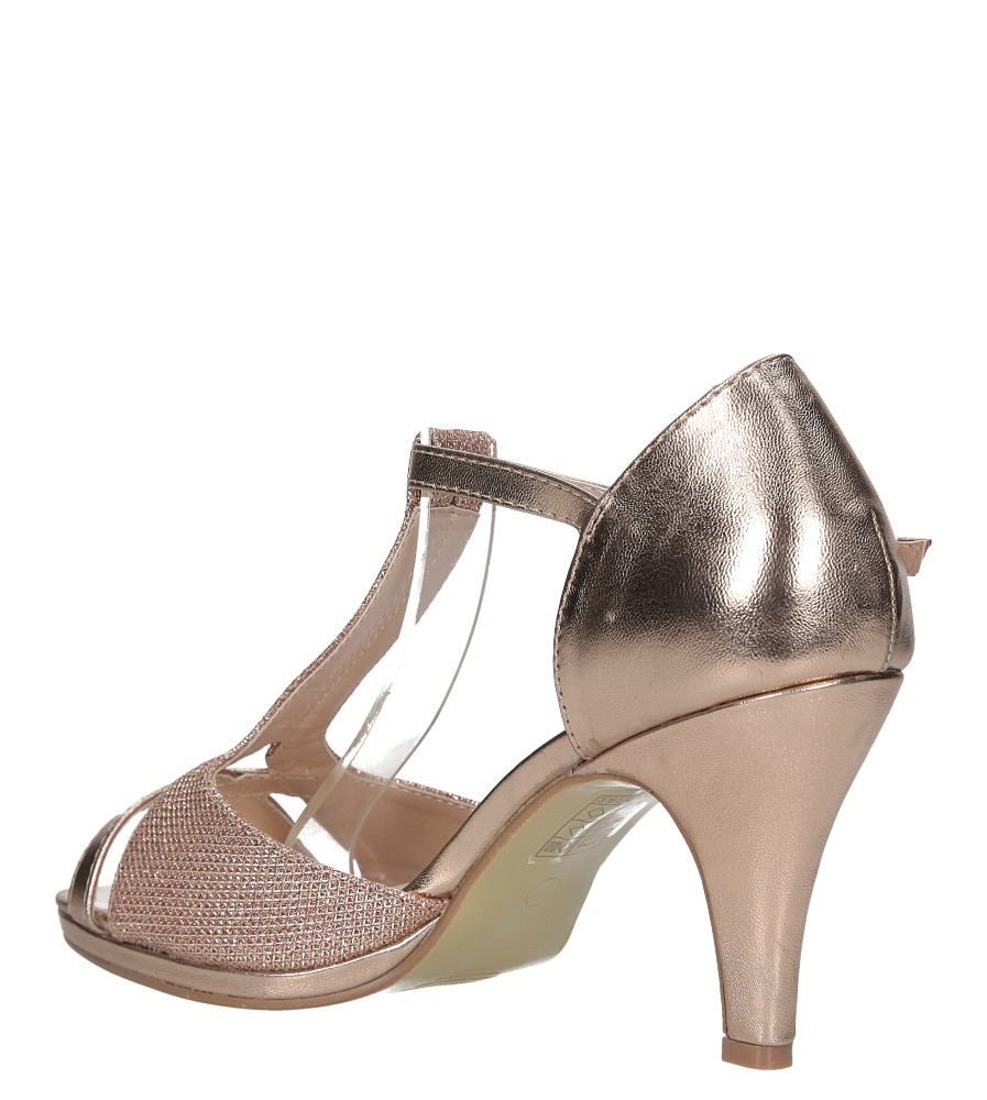 Szampańskie sandały t bar karnawałowe błyszczące z zakrytą piętą Casu 4649