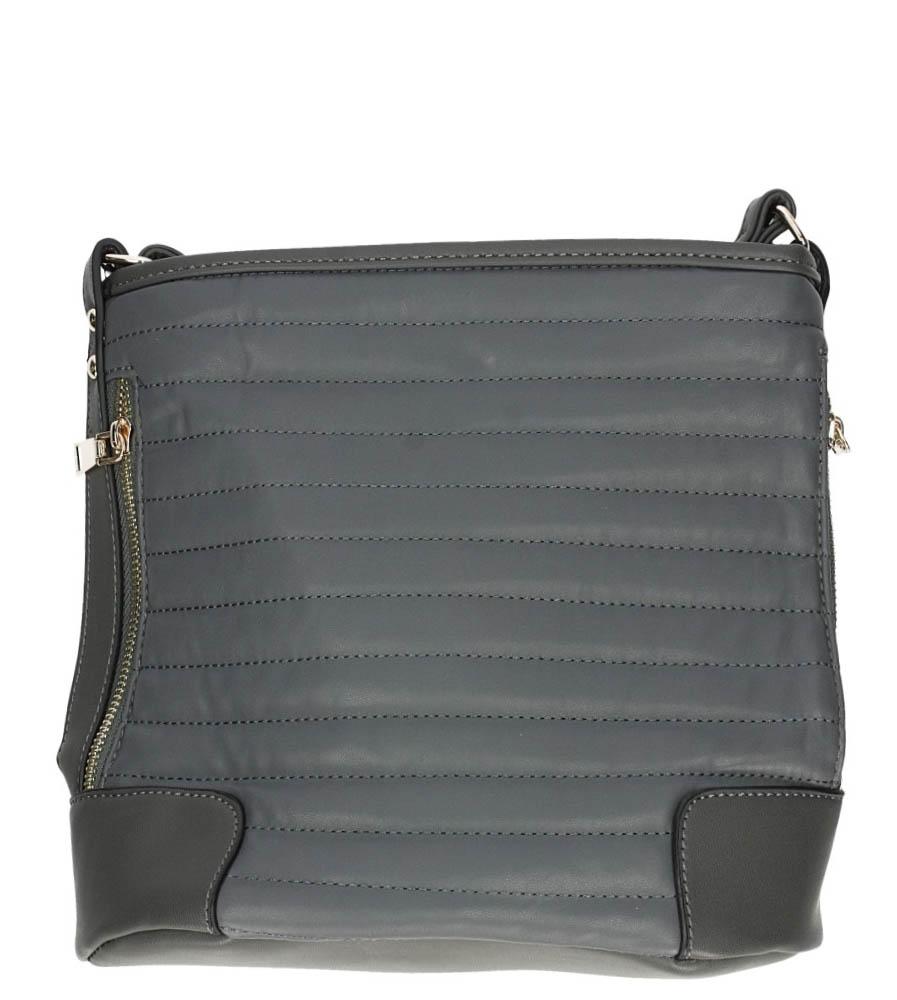 Szara torebka listonoszka pikowana z ozdobnymi suwakami Casu L7012
