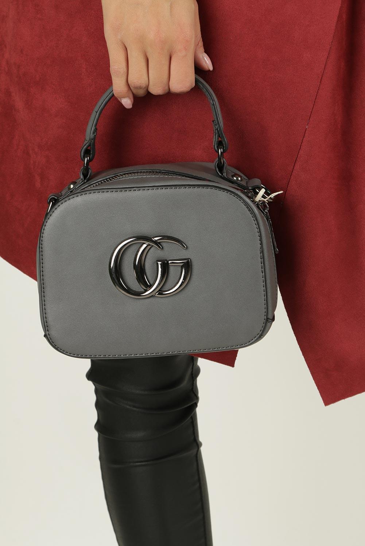 Szara torebka mała z rączką Casu L5020