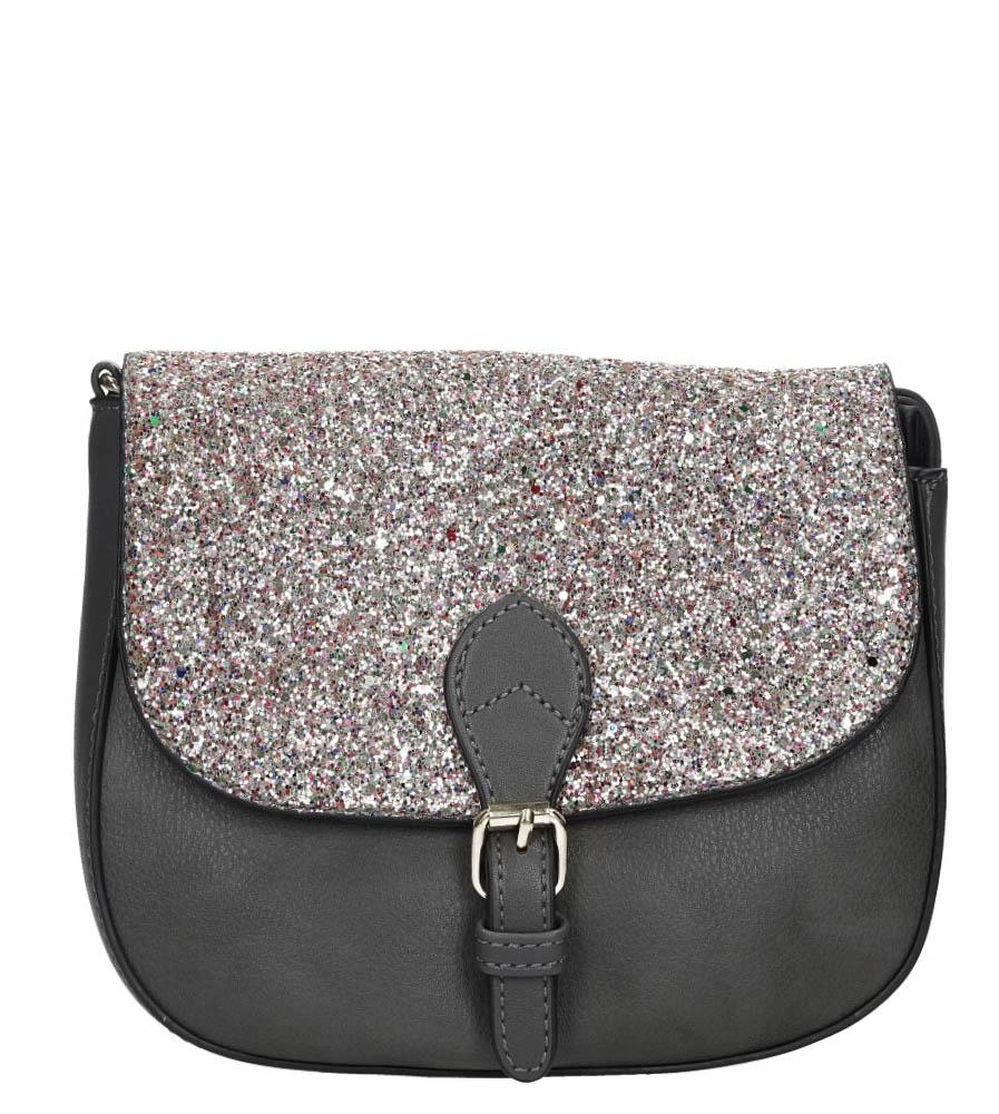 Szara torebka z brokatową klapką Casu L7015
