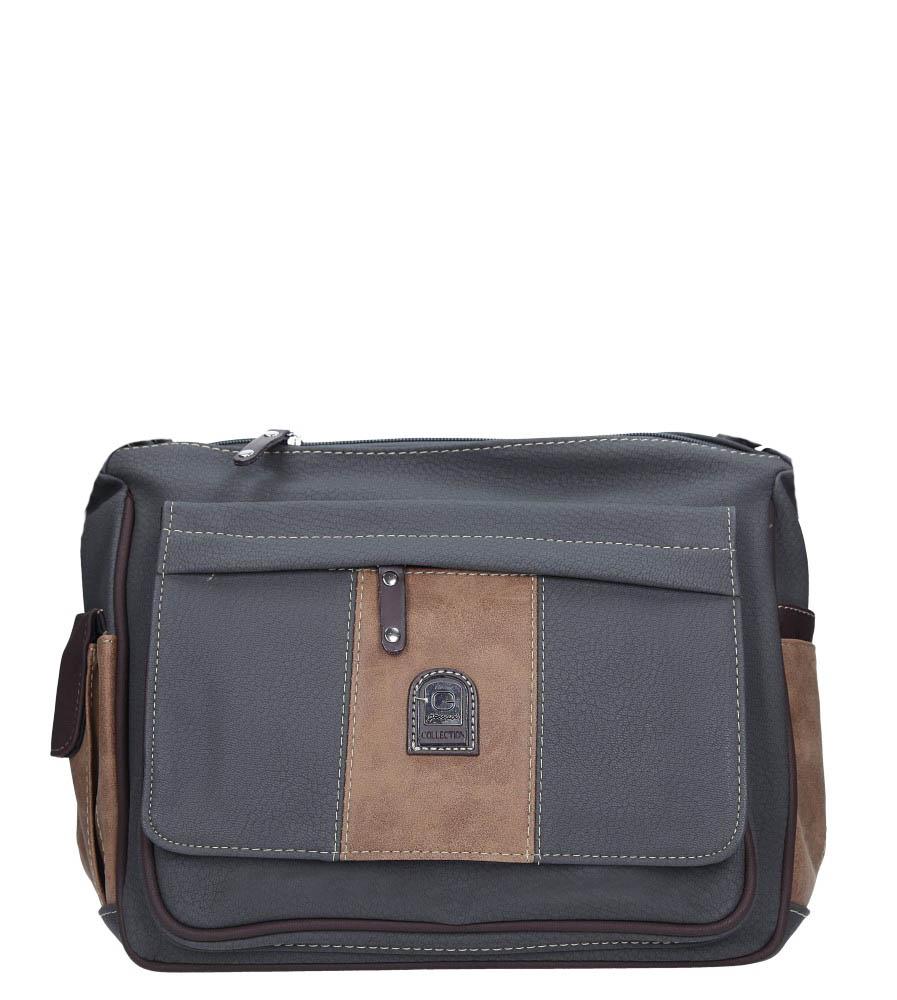 Szara torebka z kieszonką z przodu Casu 1719R