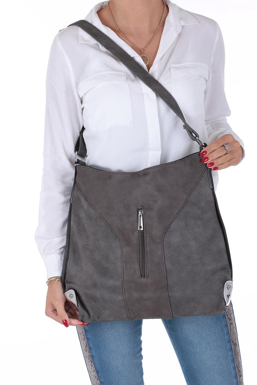 Szara torebka z kieszonką z przodu Casu 2949-BB