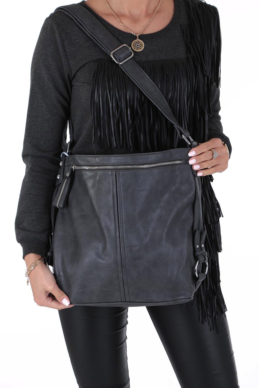 Szara torebka z kieszonką z przodu Casu 74-MH