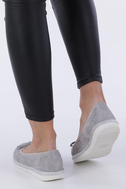Szare baleriny espadryle ażurowe kokardka skórzana wkładka Casu W19X1/G kolor szary