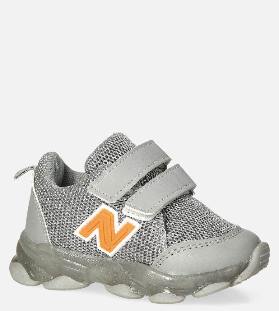 Szare buty sportowe na rzep Casu 204/14M szary