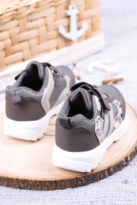 Szare buty sportowe na rzep Casu 20P17/M szary