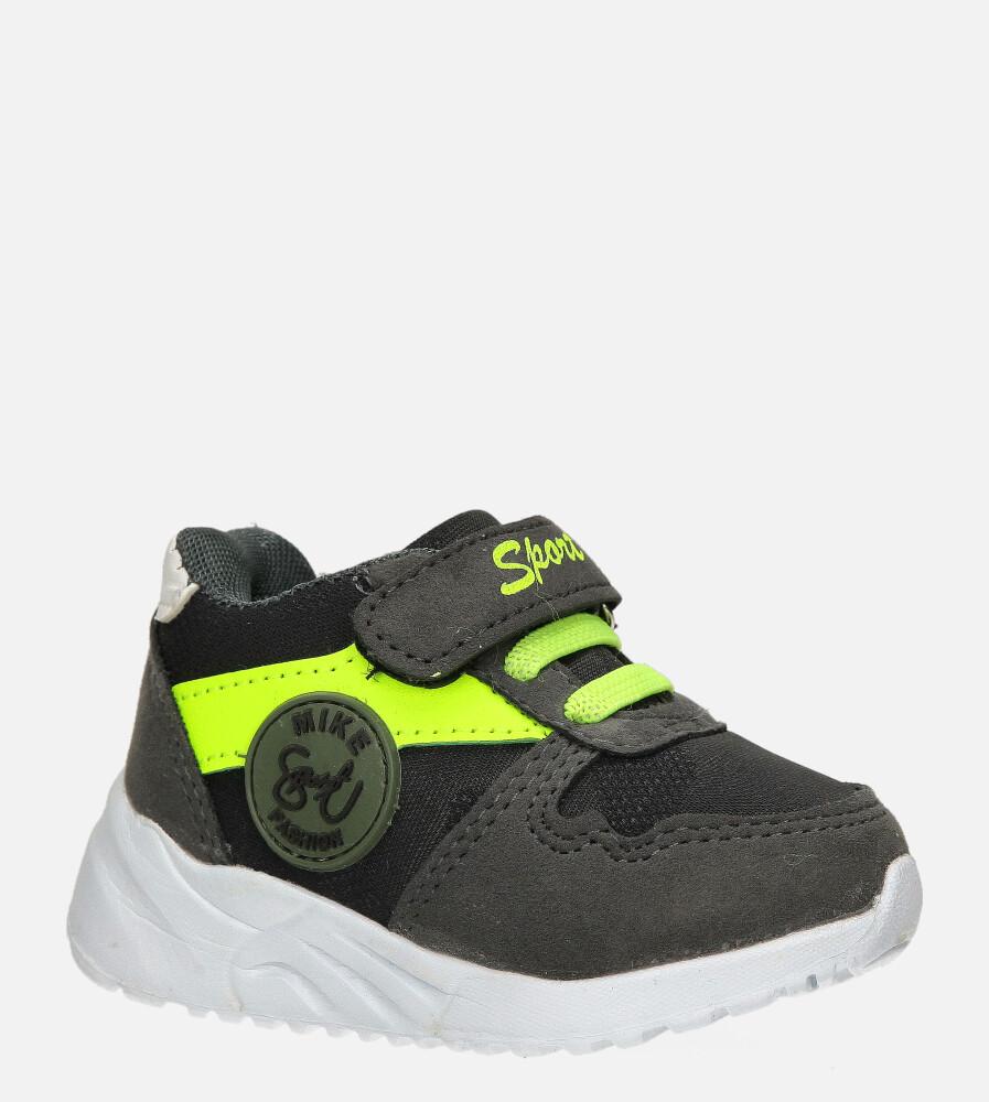 Szare buty sportowe na rzep Casu 20T4/M
