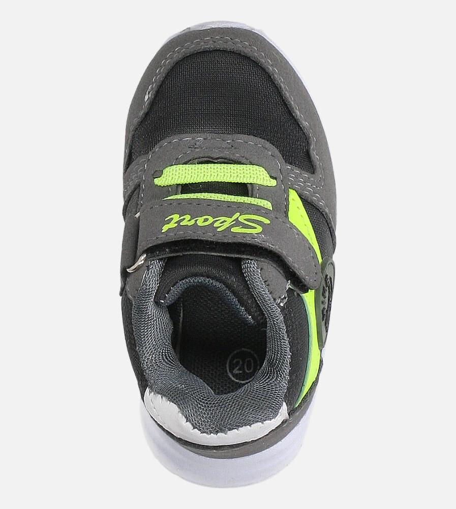Szare buty sportowe na rzep Casu 20T4/M kolor seledynowy, szary