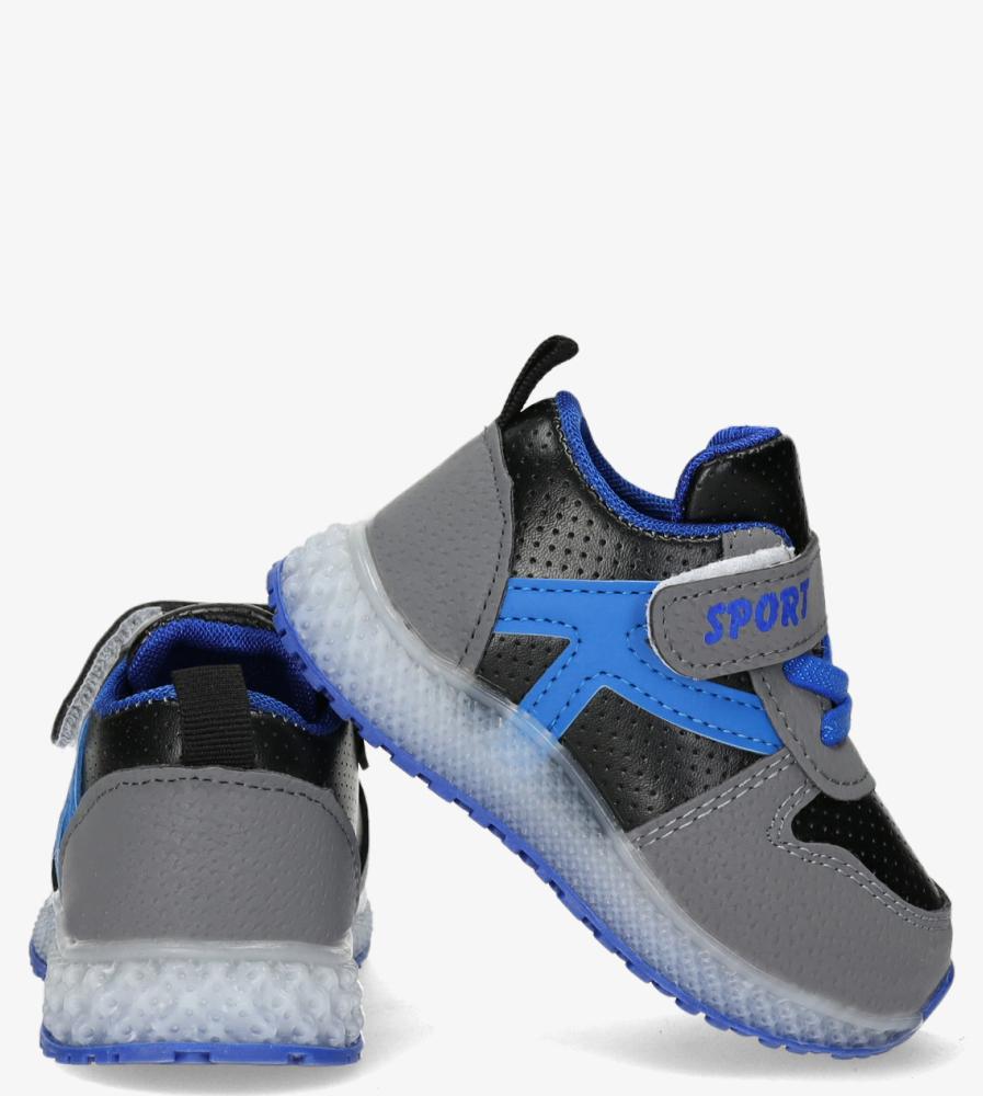 Szare buty sportowe na rzep Casu 20X4/M