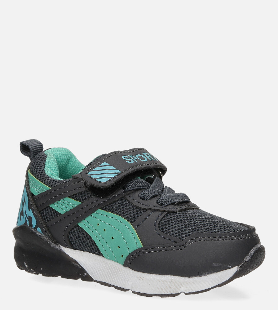 Szare buty sportowe na rzep Casu 8828