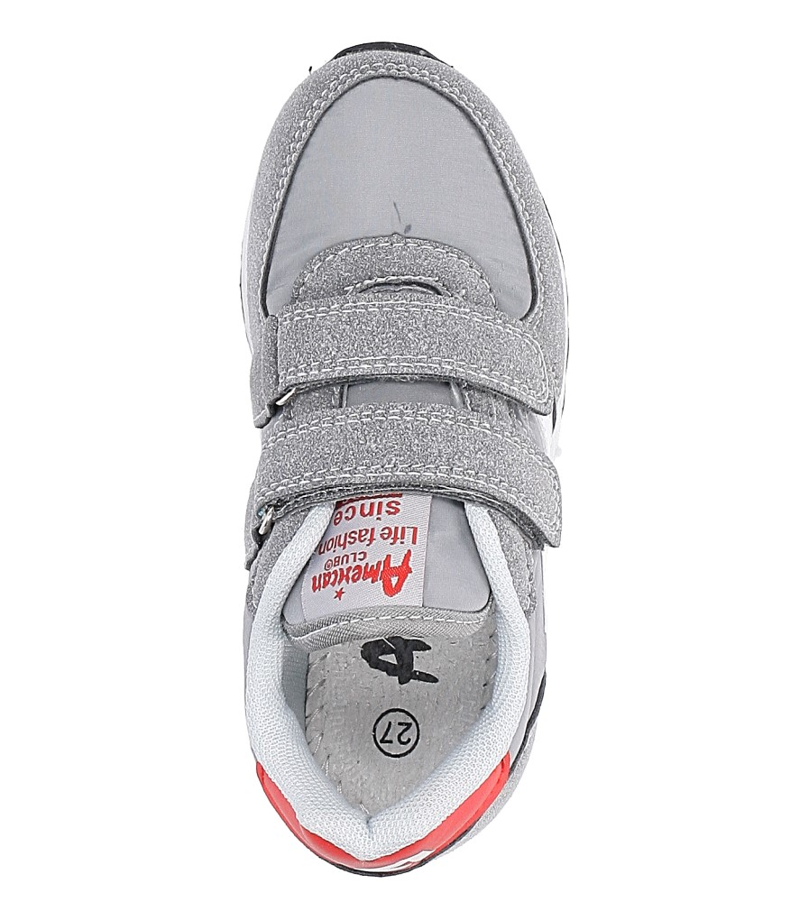 1772a807464f83 ... Szare buty sportowe na rzepy American BS-C2922 wysokosc_platformy 1 cm.  » «