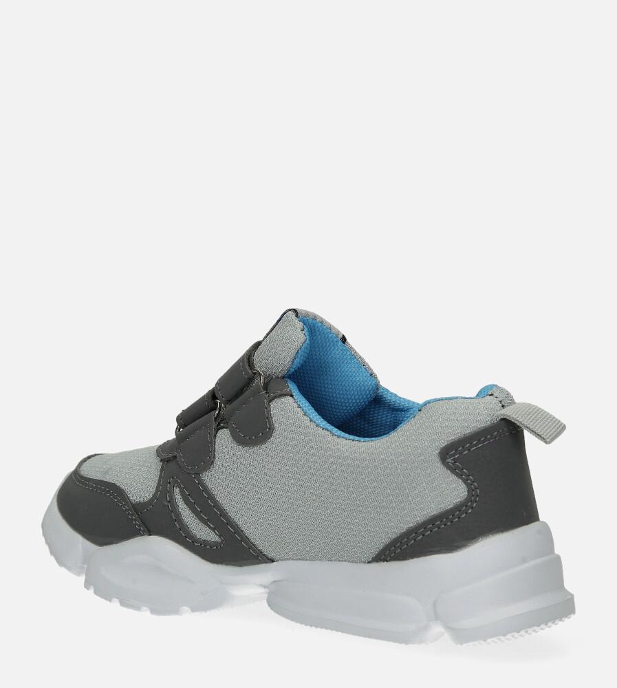 Szare buty sportowe na rzepy Casu NC20-675 kolor niebieski, szary