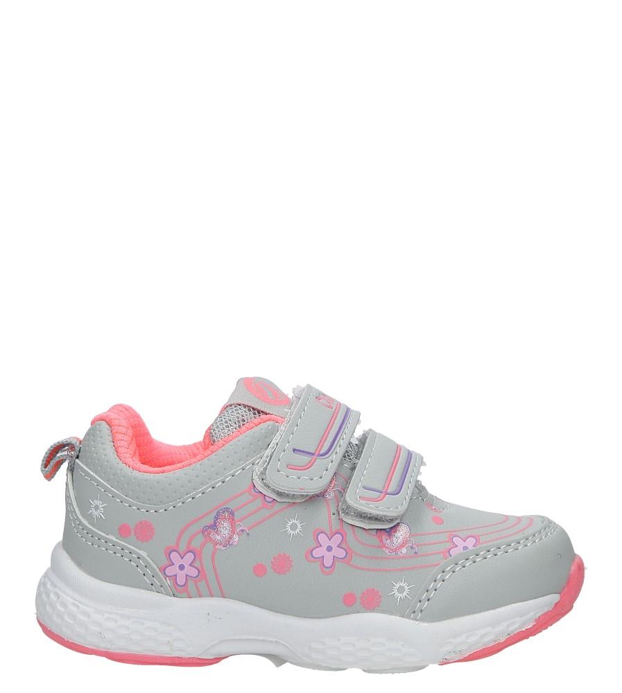Szare buty sportowe na rzepy z kwiatkami Casu F-708