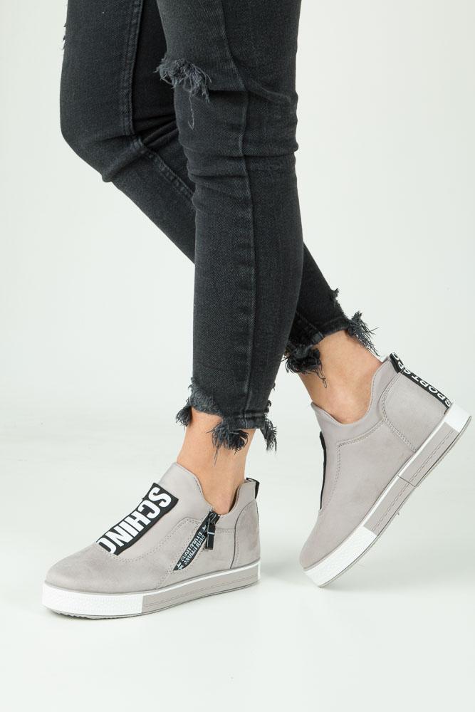 Szare buty sportowe sneakersy na platformie z ozdobnym suwakiem Casu SG-61