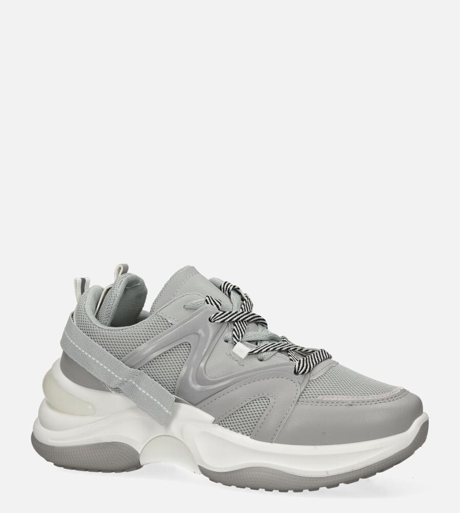 Szare buty sportowe sneakersy sznurowane Casu 20G10/G szary