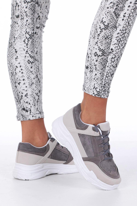 Szare buty sportowe sneakersy sznurowane Casu 6626 szary