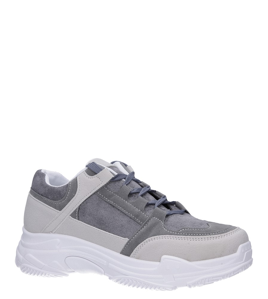 Szare buty sportowe sneakersy sznurowane Casu 6626