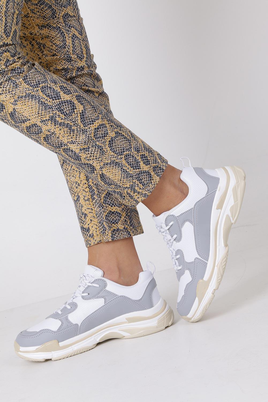 Szare buty sportowe sneakersy sznurowane Casu DS8141-5