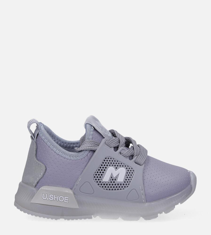 Szare buty sportowe świecące led sznurowane Casu B331 jasny szary