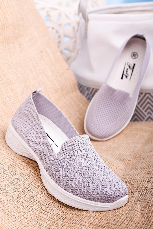 Szare buty sportowe wsuwane slip on Casu 11004-3 jasny szary
