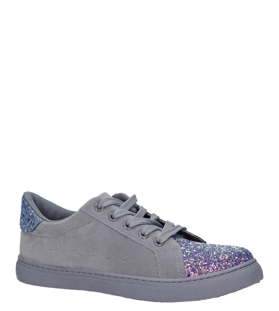 Szare buty sportowe z brokatem sznurowane Casu TL82-5