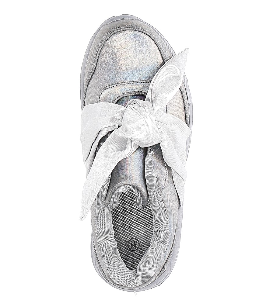 Szare buty sportowe z kokardą Casu C12033-3 wysokosc_obcasa 3 cm
