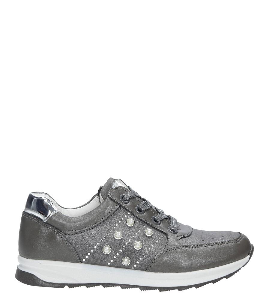 Szare buty sportowe z ozdobnym suwakiem i perełkami Casu P-237
