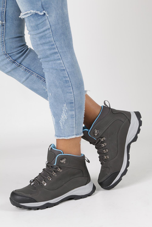 Szare buty trekkingowe sznurowane Casu 8TR85-0549