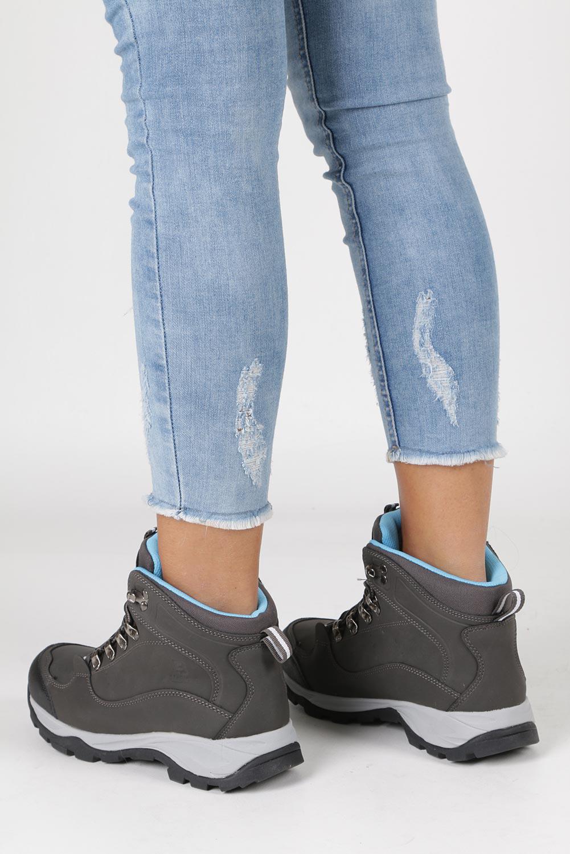 Szare buty trekkingowe sznurowane Casu 8TR85-0549 sezon Zima