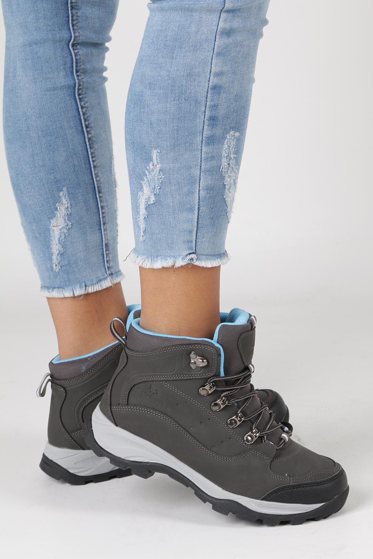 Szare buty trekkingowe sznurowane Casu 8TR85-0549 kolor szary