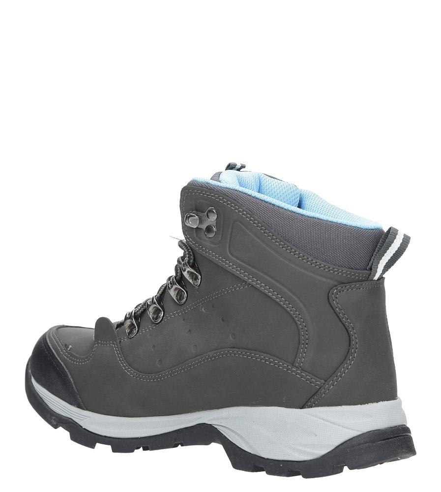 Szare buty trekkingowe sznurowane Casu 8TR85-0549 wierzch skóra ekologiczna