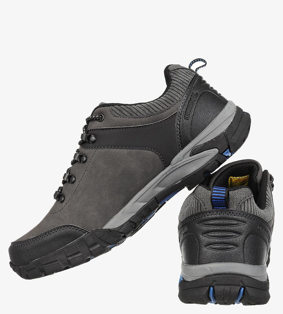 Szare buty trekkingowe sznurowane Casu MXC7707 kolor ciemny szary, niebieski