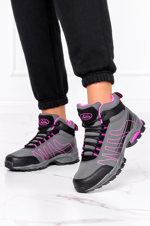 Szare buty trekkingowe sznurowane softshell Casu B1530-4