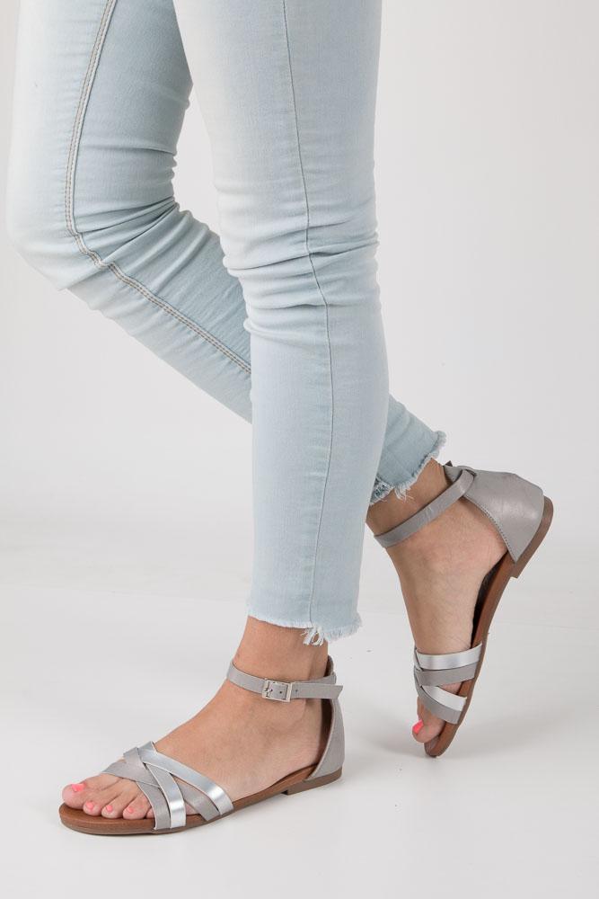Szare eleganckie sandały z zakrytą piętą Casu K18X9/G model K18X9/G