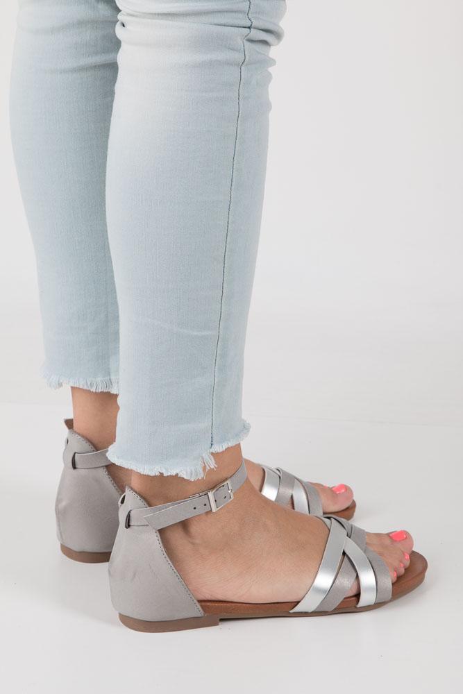 Szare eleganckie sandały z zakrytą piętą Casu K18X9/G wierzch skóra ekologiczna
