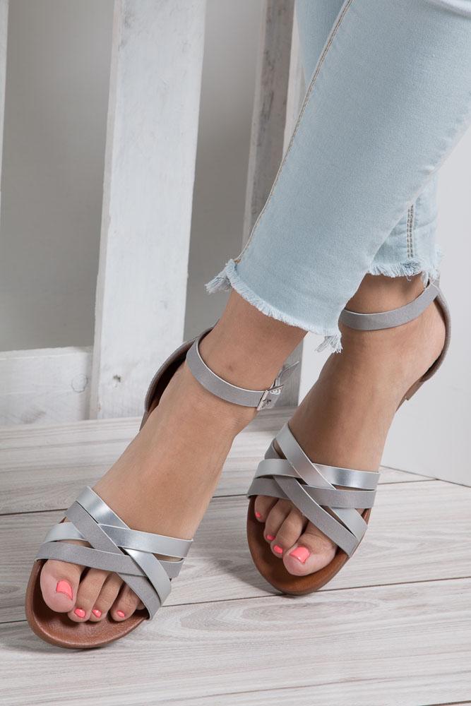Szare eleganckie sandały z zakrytą piętą Casu K18X9/G wkladka skóra ekologiczna