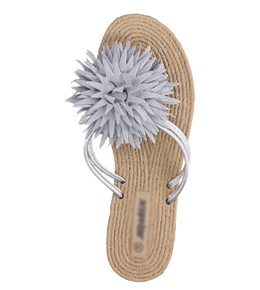 Szare klapki japonki z kwiatkiem Casu SD0099 wys_calkowita_buta 9 cm