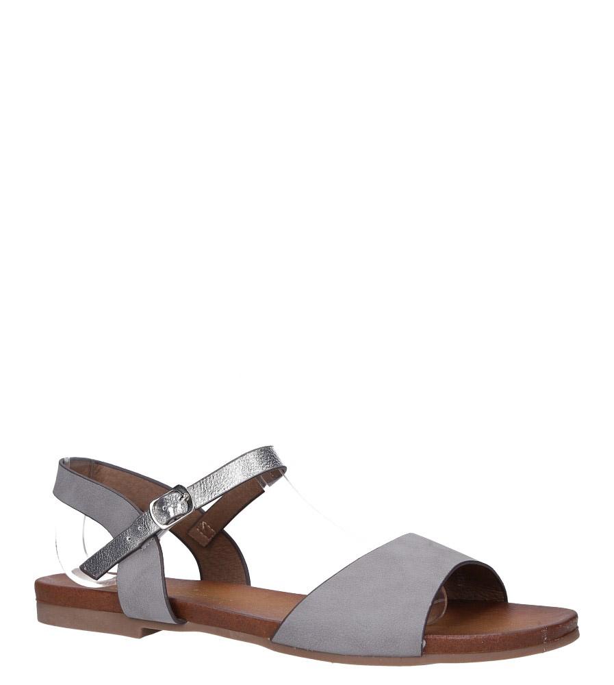Szare lekkie sandały płaskie z błyszczącym paskiem Casu K19X11/G