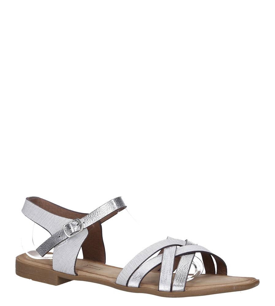 Szare lekkie sandały płaskie z błyszczącymi paskami na krzyż Casu K19X8/G