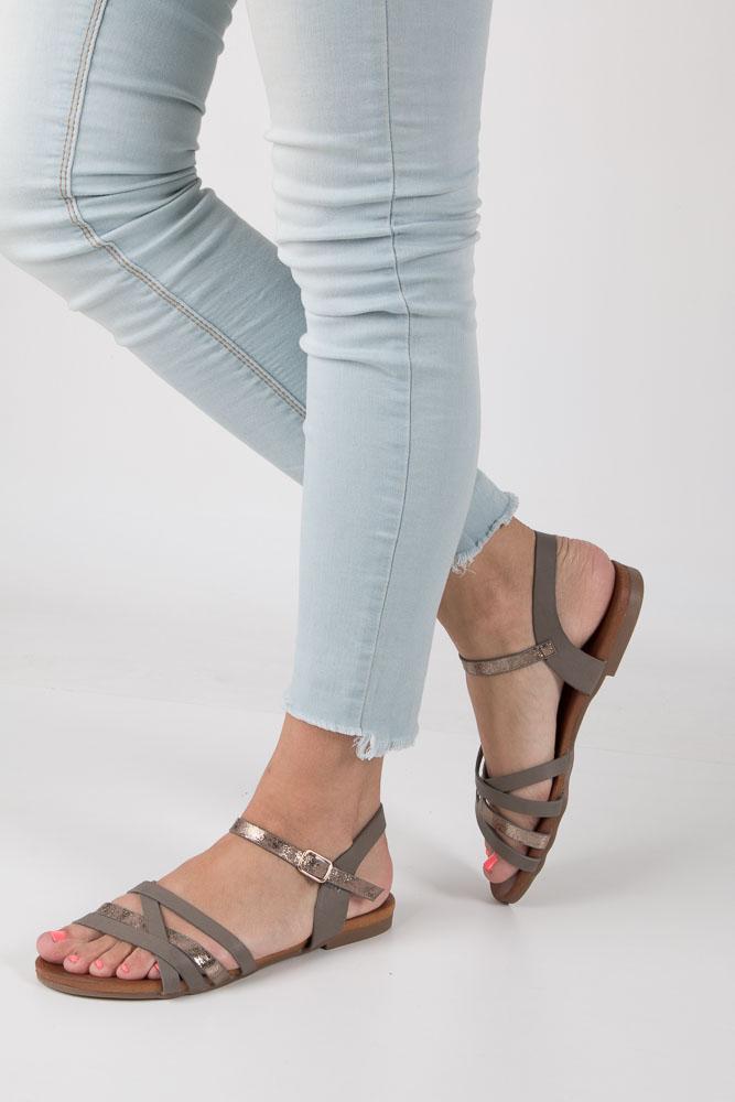 Szare letnie sandały płaskie Casu K18X7/G