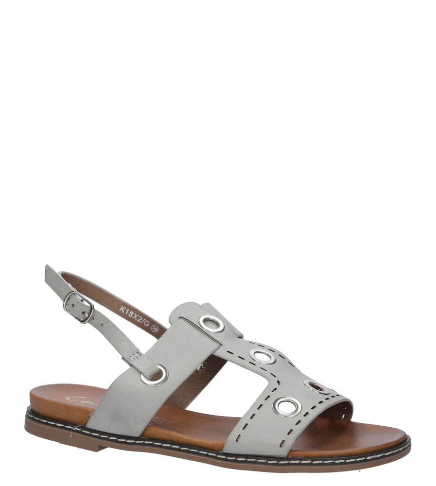 Szare modne sandały z ozdobnymi metalowymi kółkami Casu K18X2/G producent Casu