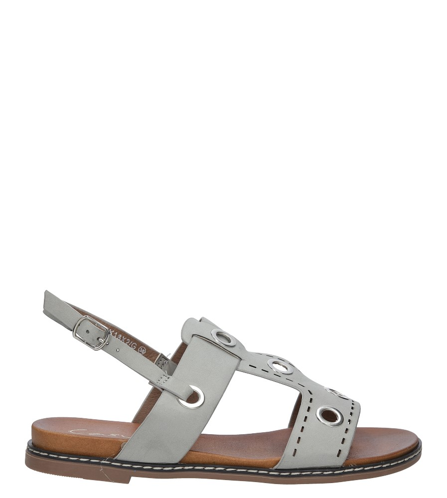 Szare modne sandały z ozdobnymi metalowymi kółkami Casu K18X2/G sezon Lato