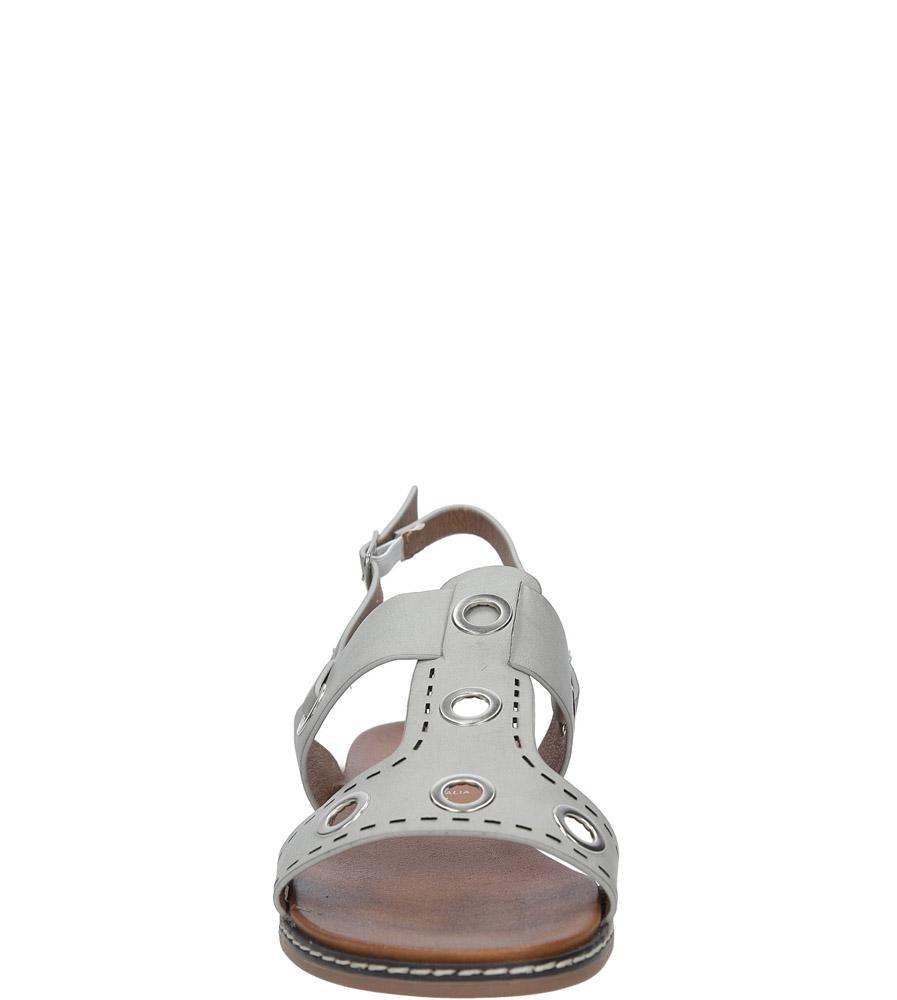 Szare modne sandały z ozdobnymi metalowymi kółkami Casu K18X2/G kolor szary