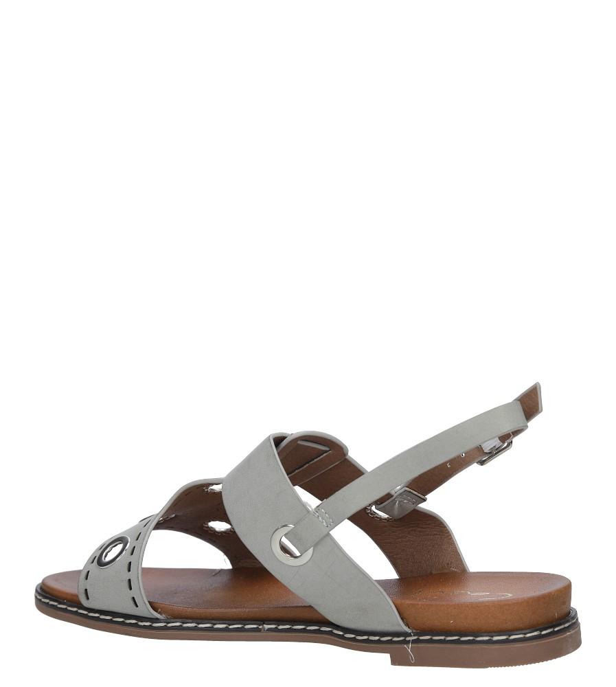 Szare modne sandały z ozdobnymi metalowymi kółkami Casu K18X2/G wysokosc_obcasa 3.5 cm